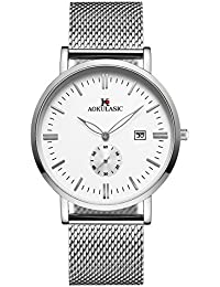 AOKULASIC Mens Fashion Fecha Analógica Cuarzo Resistente al Agua muñeca Reloj con Especial Segunda Sub Dial