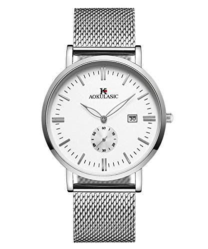 AOKULASIC Mens Fashion Date Analog Quartz Waterproof Wrist Watch with Particular Second Sub Dial.