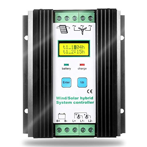 SolaMr 1000W Solarladeregler Wind Energy Solar Hybrid Laderegler 12V/24V Automatische Identifikation mit LCD Display - Wind: 600W + Solar: 400W Hybrid-display