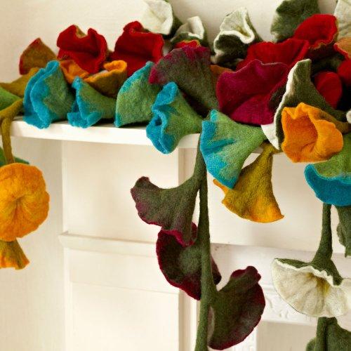 Flor de fieltro guirnalda–Natural (aprox. 160cm de longitud)