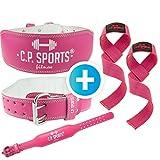 C.P. Sports Cintura Powerlifting Sollevamento Pesi + Cinghie Sollevamento Pesi per Donna Professionale Set Bodybuilding Crossfit Allenamento per Forza Sportivo Palestra Lady (Pink, S = 64-79 cm)