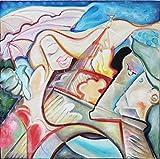 """Pintura Lienzo al Óleo Arte Abstracto Moderno """"AMOR EN PARIS"""" por DOBOS, Cuadro Original para Decoración..."""