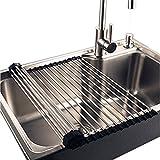 LQZ(TM)) Abtropfgestell Küchenregal Abtropfgitter Geschirrabtropfer für Geschirr Spüle aus Edelstahl, Verstellbar