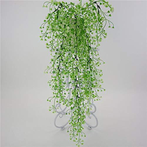 CHZSDCP Künstliche Pflanze Künstliche Hängende Efeu Gefälschte Laub Blatt Blumen Pflanzen Topf Korb Garten Home Party Decor Realistische Glyzinien Weiß Grün