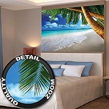 Poster spiaggia con palme immagine da parete decorazione caraibica spiaggia da sogno baia paradiso natura isola palme Tropici cielo blu   Fotomurales Decorazione da parete by GREAT ART (140 x 100 cm)
