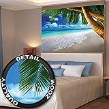 Affiche de décoration murale des plages de rêve de Palm Beach des Caraïbes un paradis d'île naturelle de palmiers tropicaux et de ciel bleu | mur deco Poster mural Image by GREAT ART (140 x 100 cm)