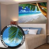 Poster Palmenstrand Wandbild Dekoration Karibik Traumstrand Bucht Paradies Natur Insel Palmen Tropen blauer Himmel | Wandposter Fotoposter Wanddeko Bild Wandgestaltung by GREAT ART (140 x 100 cm)