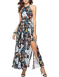 iBaste Elegante Boho Stampa Fiori Sexy Abito Lungo Donna dalle Fessure  Vestito Senza Schienale Abiti da b5c64ff29fb