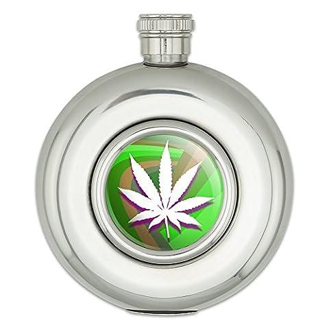 Pot de feuille de marijuana Weed psychédélique rond en acier inoxydable 141,7gram Hip Flasque de boisson