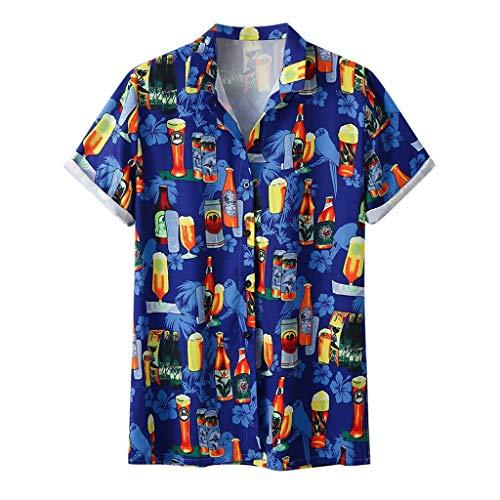 Hibiscus-aloha-shirt Herren (ZHANSANFM Oktoberfest Herren Revers Wiesn Shirt 3D Drucken Bequem Hemden Persönlichkeit Trachten T-shirt Button Down Basic Casual Kurzarm Tops karnevalskostüme Mode Loose Fit (XL, Blau))