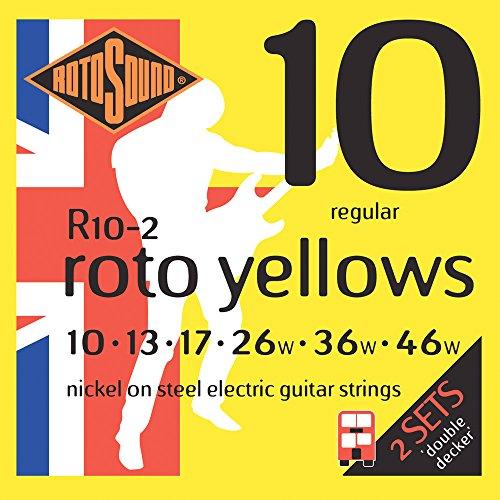 Rotosound R10-2 - Juego de cuerdas para guitarra eléctrica de níquel, 10 13 17 26 36 46