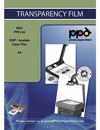 PPD DIN A4 Inkjet Transparentfolie - OHP Overheadfolie Für Tintenstrahldrucker Ohne Sensorstreifen, Neue Mikroporöse Beschichtung Für Schnelle Trockung und Vollfarbige Drucke , DIN A4 x 50 Blatt PPD34-50