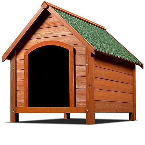 XXL Hundehütte Hundehaus Hund Echtholz Massiv Wetterfest Dachluke Spitzdach Holz