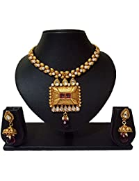 Sadnya Traditional Necklace Set With Earring Jhumki For Bridal Jewellery Antique Finish Necklace Set - ANK45