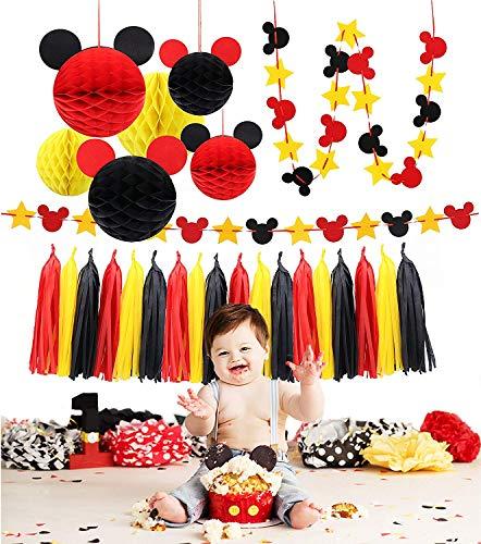 Party Dekorationsset KZ5547-W125 Bunte Mickey Wabenbälle aus Papier, rot gelb und schwarz Quaste Girlande Seidenfilz Banner Kindergeburtstag Mottoparty Ideen ()