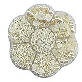 Chenkou Craft Halbrunde Perlen, flache Rückseite, lose Perlen, flower beige