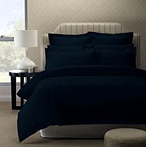 Story@Home 300 TC Cotton Double Bedsheet with 2 Pillow Covers - King Size, Dark Blue