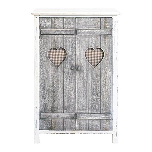 Rebecca Srl Mueble auxiliar Cajonera Comoda 2 puertas Gris Blanco Decapado Vintage Casa de campo Dormitorio Baño Entrada (Cod. RE4563)