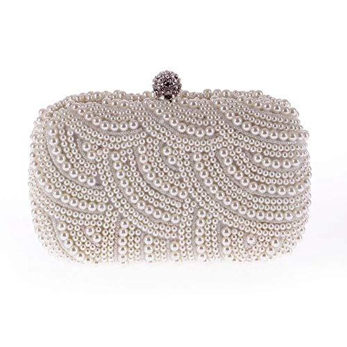 MINI coole weibliche Tasche exquisite Abendgesellschaft Tasche Perle Tasche ovale Kette Slung Clutch Bag klassische Mode wilde Mode Tasche Größe: 17 * 12 * 4cm Mode ( Farbe : White )
