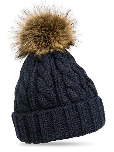 CASPAR MU104 Damen Mütze / Strickmütze mit Fellbommel, Farbe:dunkelblau;Größe:One...