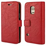 Galaxy S5 mini hülle, Samsung Galaxy S5 mini Holster hülle Bookstyle Handyhülle Premium PU Leder Tasche Flip Case Brieftasche Etui Handy Schutz Hülle für Samsung Galaxy S5 mini - Rot