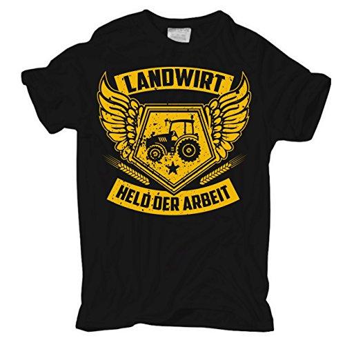 Männer und Herren T-Shirt Landwirt - Held der Arbeit Körperbetont schwarz