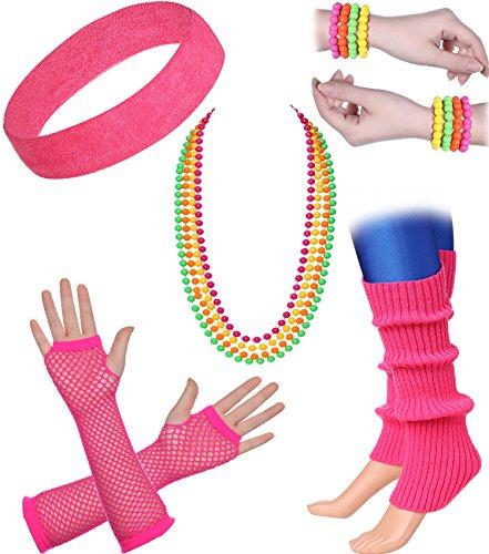 ArtiDeco Damen 80er Jahre Zubehör 1980s Disco Party Kostüm Outfit Zubehör Set Inklusive Stirnband Ohrringe Armbänder Beinlinge Fischnetz Handschuhe (Set-7)