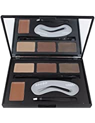 Lover Bar 4 Colour Eyebrow Powder Kit Shaping Stencil Template Angled Brush Tweezer-Makeup Cream Contour Palette-Make Up Waterproof HD Wax Eye Brow