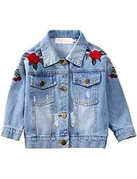 CHIC-CHIC Blouson Motard Veste Floral Imprimé Fille Garcon - Jeans Denim - Manche Longue - Manteau Printemps Automne pour Enfant