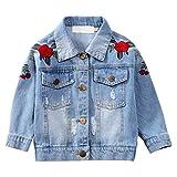 Chic-Chic Blouson Motard Veste Floral Imprimé Fille Garcon - Jeans Denim - Manche Longue - Manteau Printemps Automne pour Enfant Fleur 3-4ans