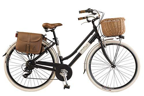 Via Veneto By Canellini Fahrrad Rad Citybike CTB Frau Vintage Retro Via Veneto Alluminium (Schwartz, 46)
