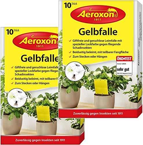 Aeroxon - Gelbfalle - Gelbtafeln - 20 Gelbsticker, große Klebefläche, perfekt gegen Ungeziefer in Ihrem Garten - Gegen Trauermücken, Blattläuse, Minierfliegen und weiße Fliegen