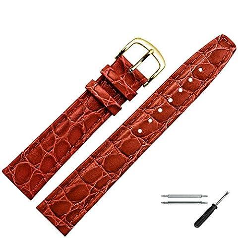 Uhrenarmband 14mm Leder rot-braun Prägung, Kroko, mit Naht - inkl. Federstege & Werkzeug - Lederarmband für Uhren mit gleichfarbiger Naht & Krokoprägung - Marburger seit 1945 - rot-braun / gold