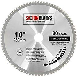 Saxton TCT TCT25080TMB Lame de scie circulaire pour métaux, acier, aluminium et cuivre 250 mm x 80 T pour Bosch Makita Dewalt Evolution pour scies de 255 mm