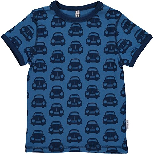MAXOMORRA Jungen T-Shirt Blau (Auto) Kurzarm Shirt Punkte Dots Biobaumwolle GOTS - Größe: 146/152 (Kurzarm-t-shirt Dots)