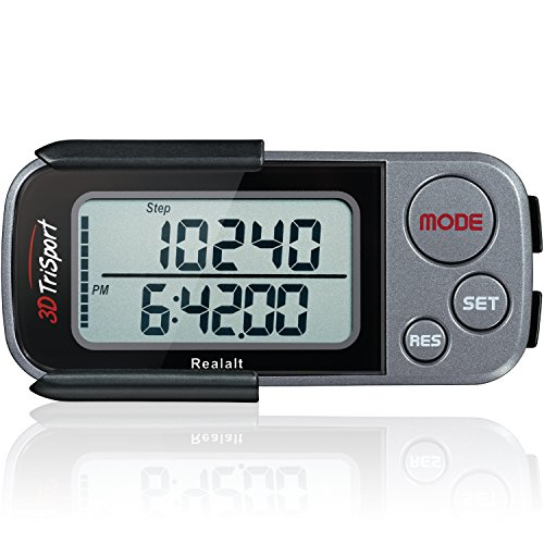 3DTriSport Supreme Quality Walking 3D Pedometer with Clip and Strap, and Free...