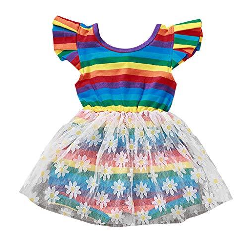 Livoral Mädchen Regenbogen gestreifte Blume Tüll Kleid Kind Baby Patchwork Prinzessin Party Kleid(Mehrfarbig,100)