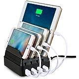 Upow de 4 puertos USB estación de carga [27W 2.4A MAX] Escritorio de múltiples dispositivos de soporte de carga. Organizador para el iPhone 6 / 6s Plus, iPhone 6 / 6S, Samsung Galaxy S7 Edge / S7 y más dispositivos inteligentes.