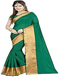 Silverstar Women's Cotton Silk Saree With Blouse Piece (Plain 1119 Green Cotton_Green)