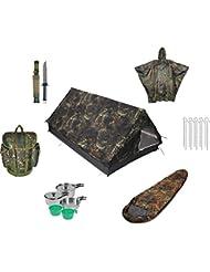 Survial Equipment bestehend aus Tunnelzelt, Gebirgsjägerrucksack, Rip-Stop-Poncho, Survivalmesser, Mumienschlafsack und Kochset
