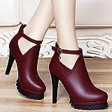 AJUNR-Zapatos De Mujer De Moda 11Cm Rojo Elegante Cuero Zapatos Zapatos De Mujer Otoño Nueva Versión Coreana De La Multa High-Heeled Salvajes Con La Moda Mujer Zapatos Rojo 37