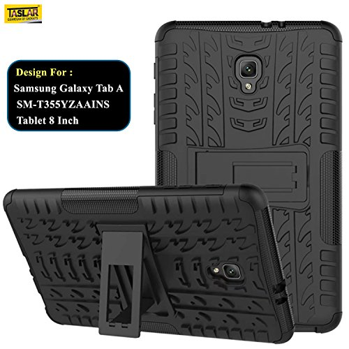 Taslar® Hybrid Armor Design with Stand Feature Detachable Dual Layer Protective Shell Hard Back Cover Case For Samsung Galaxy Tab A 2017 SM-T385NZKAINS 8 Inch,(Black)