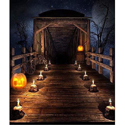 Horrible Night Halloween Hintergrund Bedruckte Totenköpfe Kerze Licht Kürbis Laternen Vollmond Sterne Holz Brücke Foto Hintergrund 20,3 x 3 m - Brücke Kerze