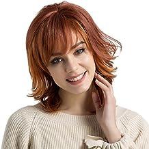 """Homyl 14"""" Cute Perurque Femelle Courte Naturelle Frisée en Couleur Rouge Blonde Mix 100% Vrais Cheveux Humains pour Déguisement"""