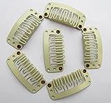 Tfrdertuuigf metal parrucca u-shape Hair extensions clip beige 20PCS