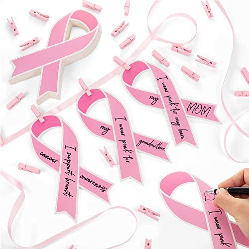 Outus Brustkrebs Bewusstseins Rosa Papierband, 50 Stücke Ausschnitt Unterstützungskarten, 50 Stücke Rosa Holzklammern