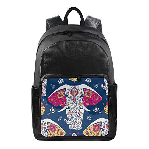 ISAOA Moda Impermeable Mochila Escolar Mochila para portátil,15.6 Pulgadas Mandala India Elefante Azul Marino Negocios Viaje Mochila Casual para Viajes Negocios Universidad Mujeres Hombres