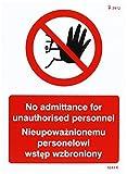 Caledonia Schilder 23243e kein Zutritt zu unbefugtem Personal Englisch/Polnisch Zeichen, selbstklebendes Vinyl, 200mm x 150mm