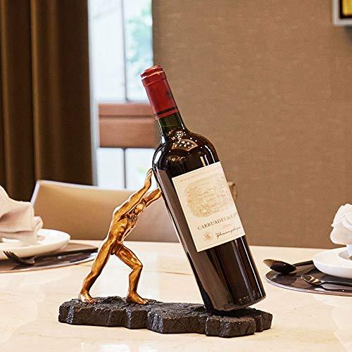 SHENW Creative-Gold-Hercules-Form-Weinregal Home Küche Dekoration Weinhalter Speise Tabletop Wein Storage Rack Bar Aufsatz- Anzeige Wein-Halter-Qualitäts-Harz Durable Weinregal