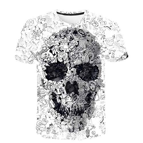 UINGKID Herren T-Shirt Slim-Fit Easy Business Kurzarm UnterhemdDas Neue Sommer-T-Shirt der Männer mit Rundhalsausschnitt Kurzarm-Schädel 3D gedrucktes Oberteil